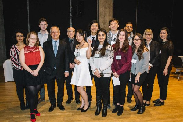 President Meric Gertler with a group of New College students.